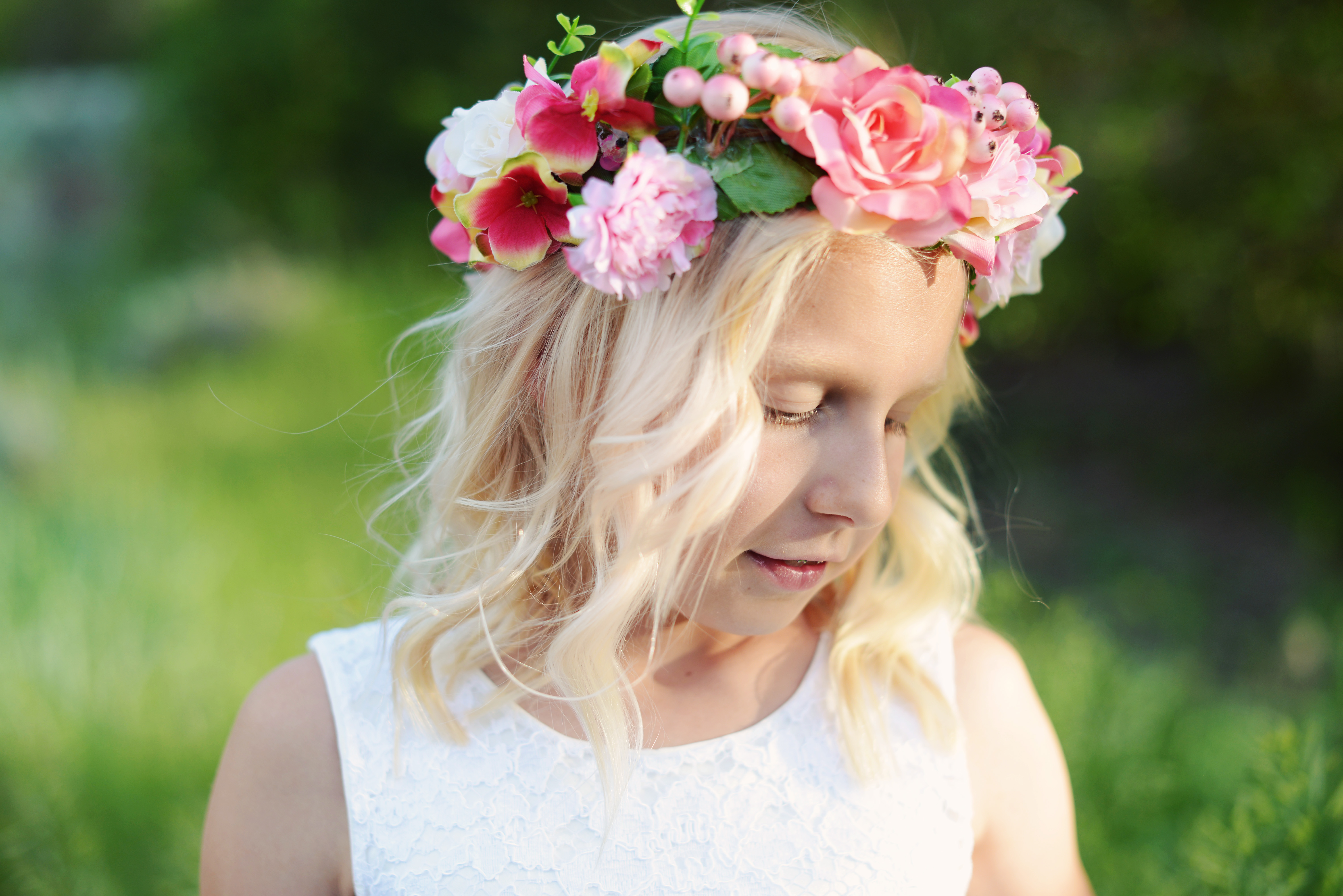 Visit our range of handmade floral hair crowns and wreaths by gilly an ivory and pink flower girl crown with pink flowers and leaf green accents izmirmasajfo