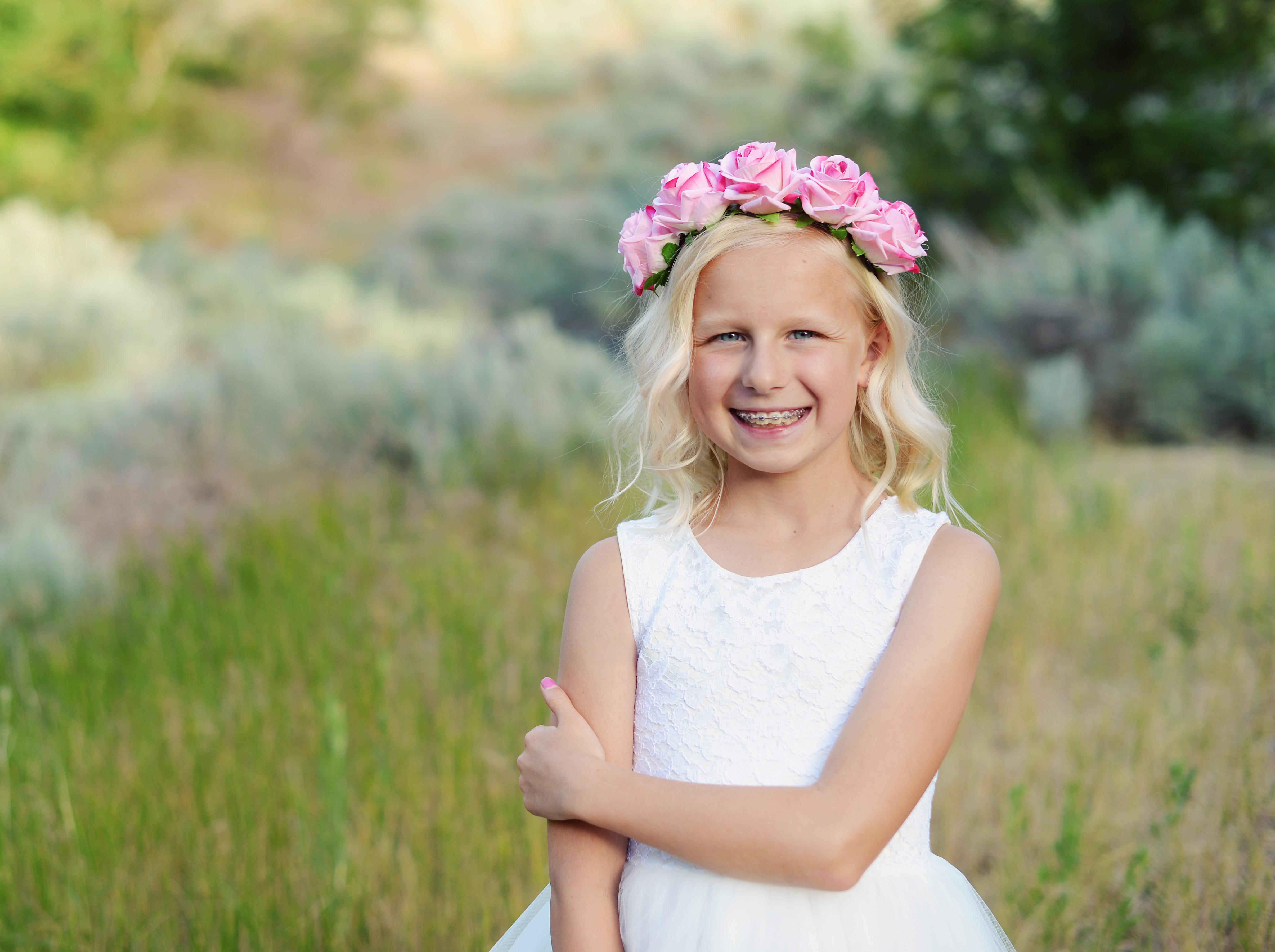 Pink Floral Flower Girl Headband Or Bridesmaid Headband