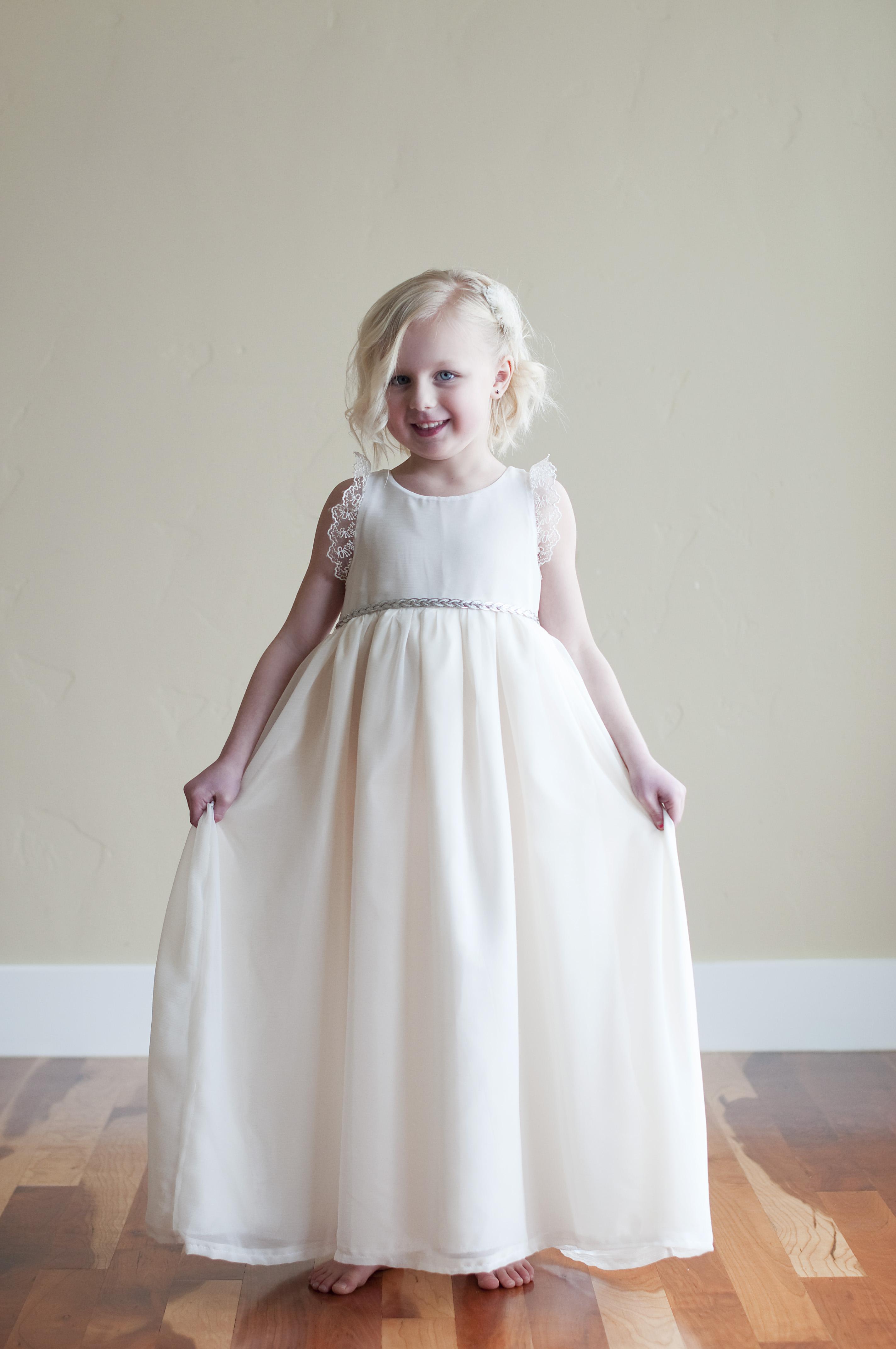 462eae0f0a The Selene Chiffon Flower Girl Dress is a beautiful light flower girl dress  available in ivory and white with brocade trim.