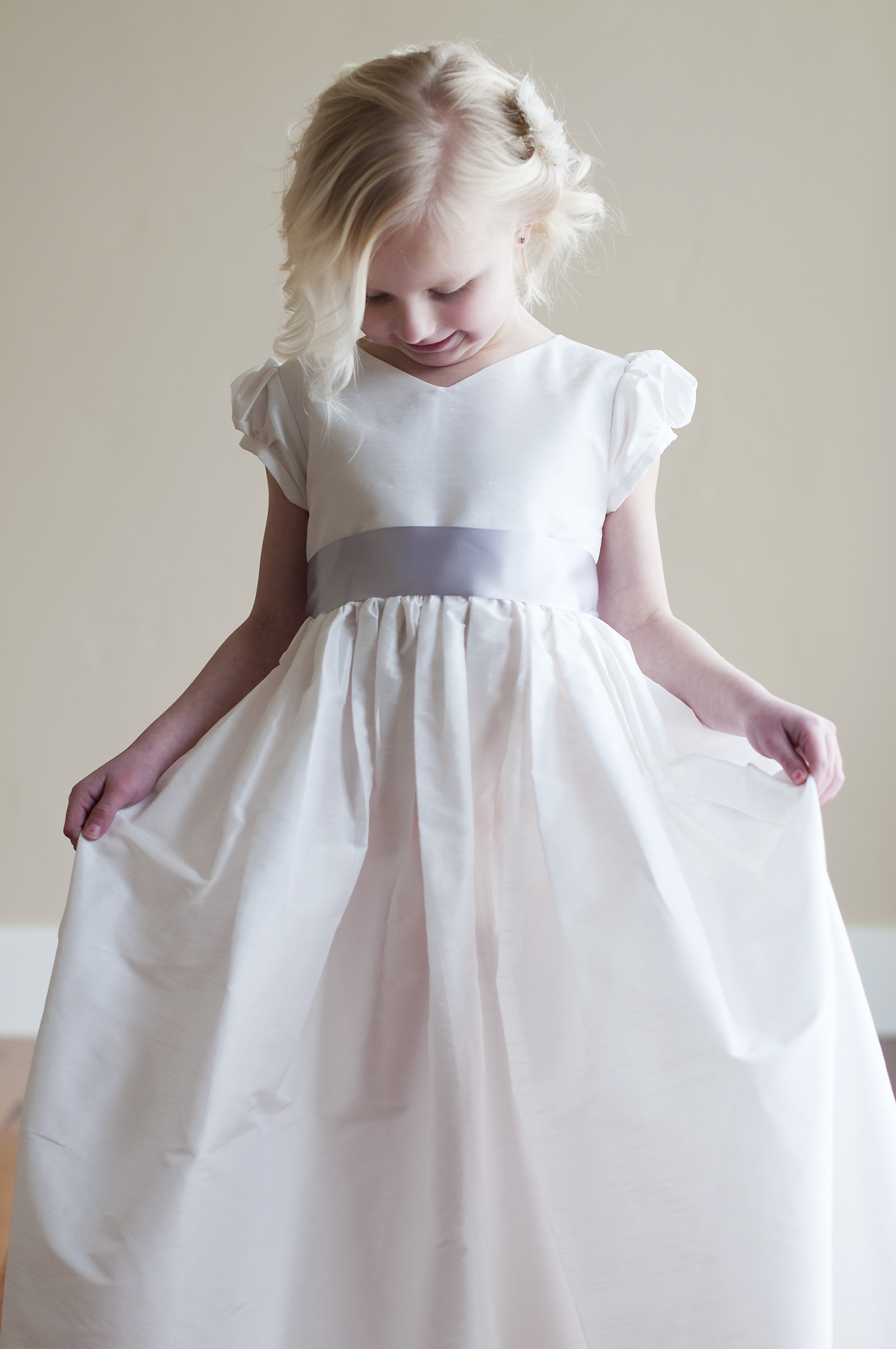The Albion Dress Is A Clic White Or Ivory Cotton First Communion And Flower With Puff Sleeves V Neckline Sash