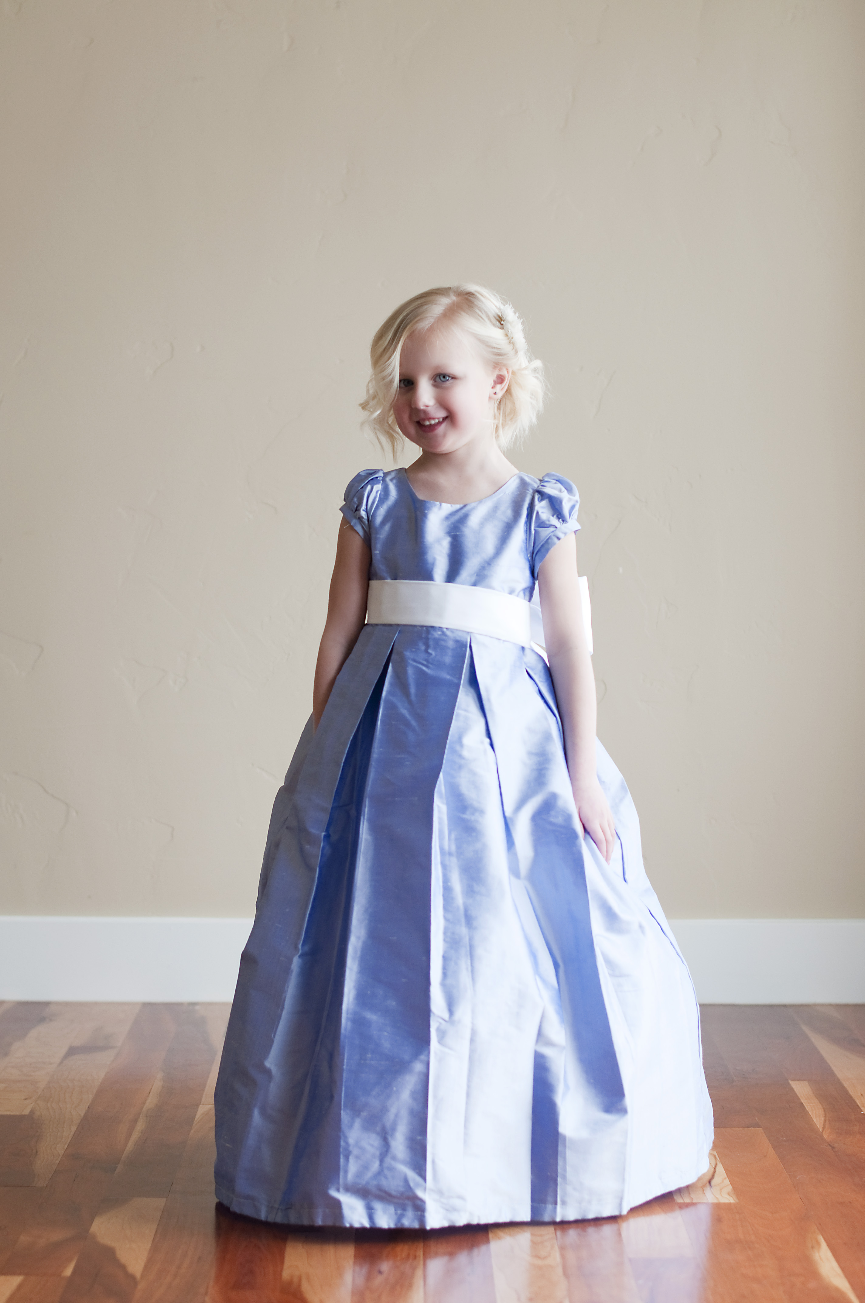 Beautiful range of handmade flower girl dresses and junior a blue pure silk flower girl dress with a full bow ombrellifo Images
