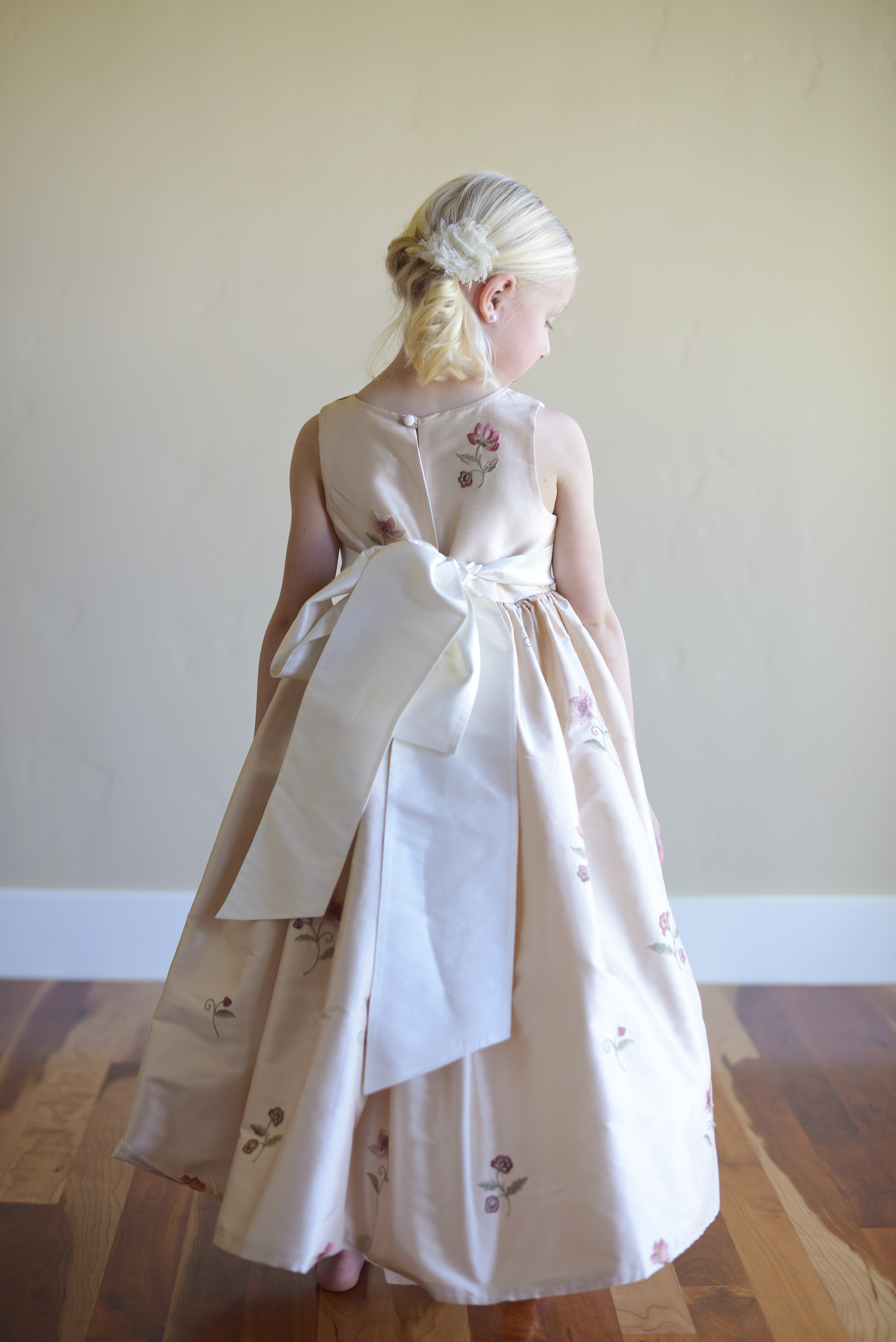c6b5fca4541 The Blush rose flower girl dress is a pure silk dress embroidered with  pretty pink flowers.