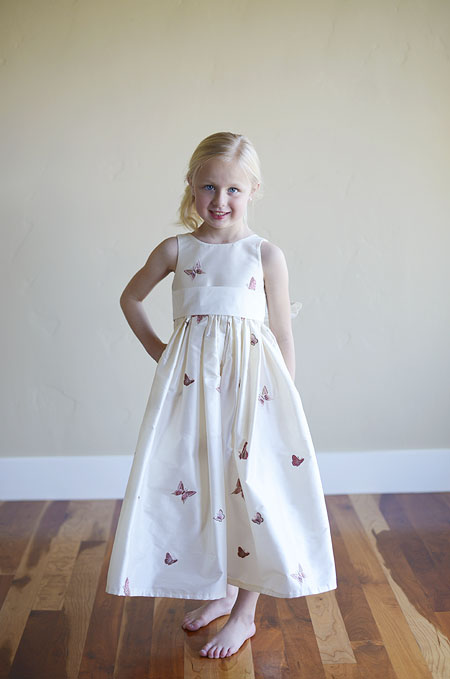 Girls White Silk flower girl dress with embriodered butterfly ...