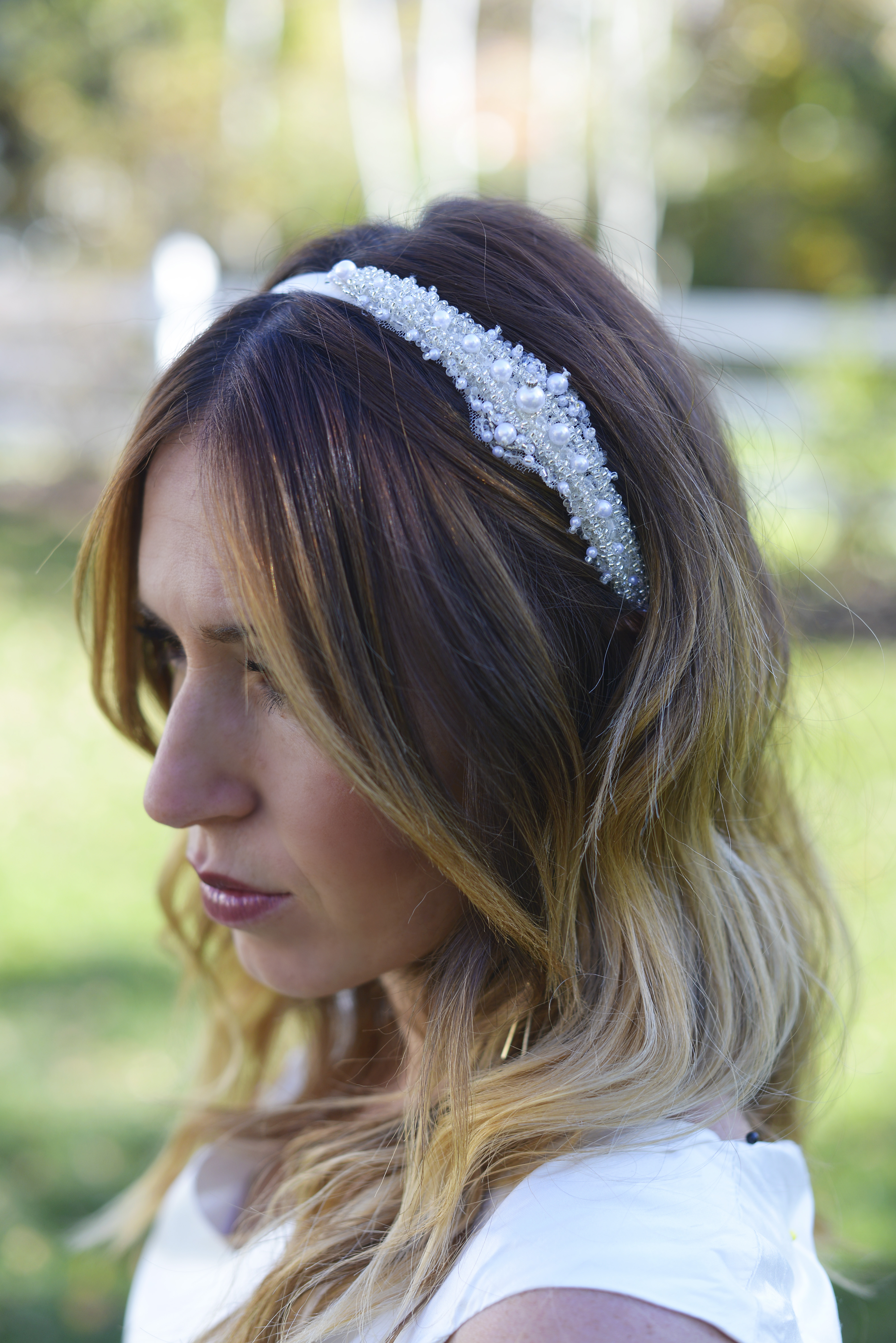 The Cecilia Diamante Bridesmaid and Pearl Headband available in white and  ivory 04f5337e5a9