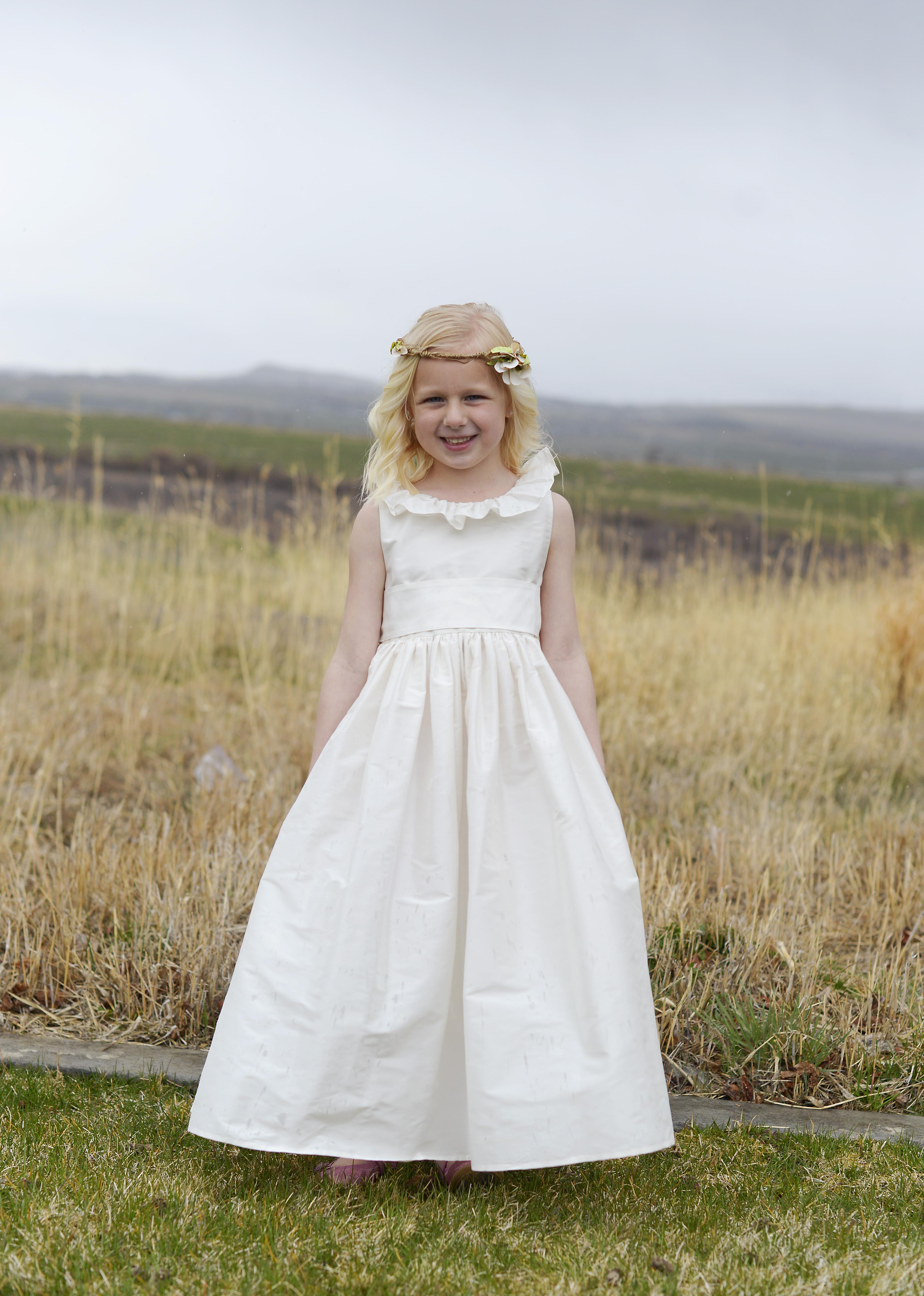 b24fe14f0dd A pure silk flower girl dress with a ruffle neckline in 140 silk colours.