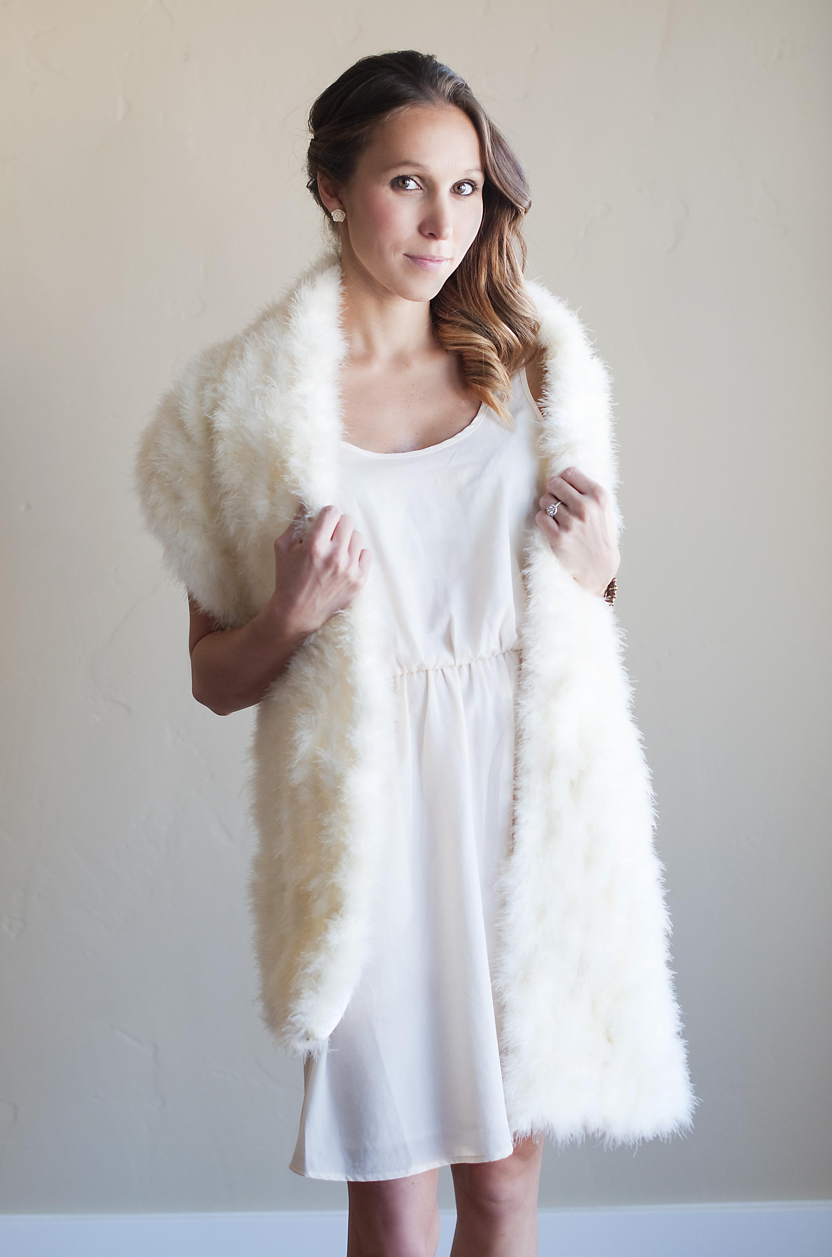 The Ptarmigan Shawl Ivory feathered wedding shawl winter