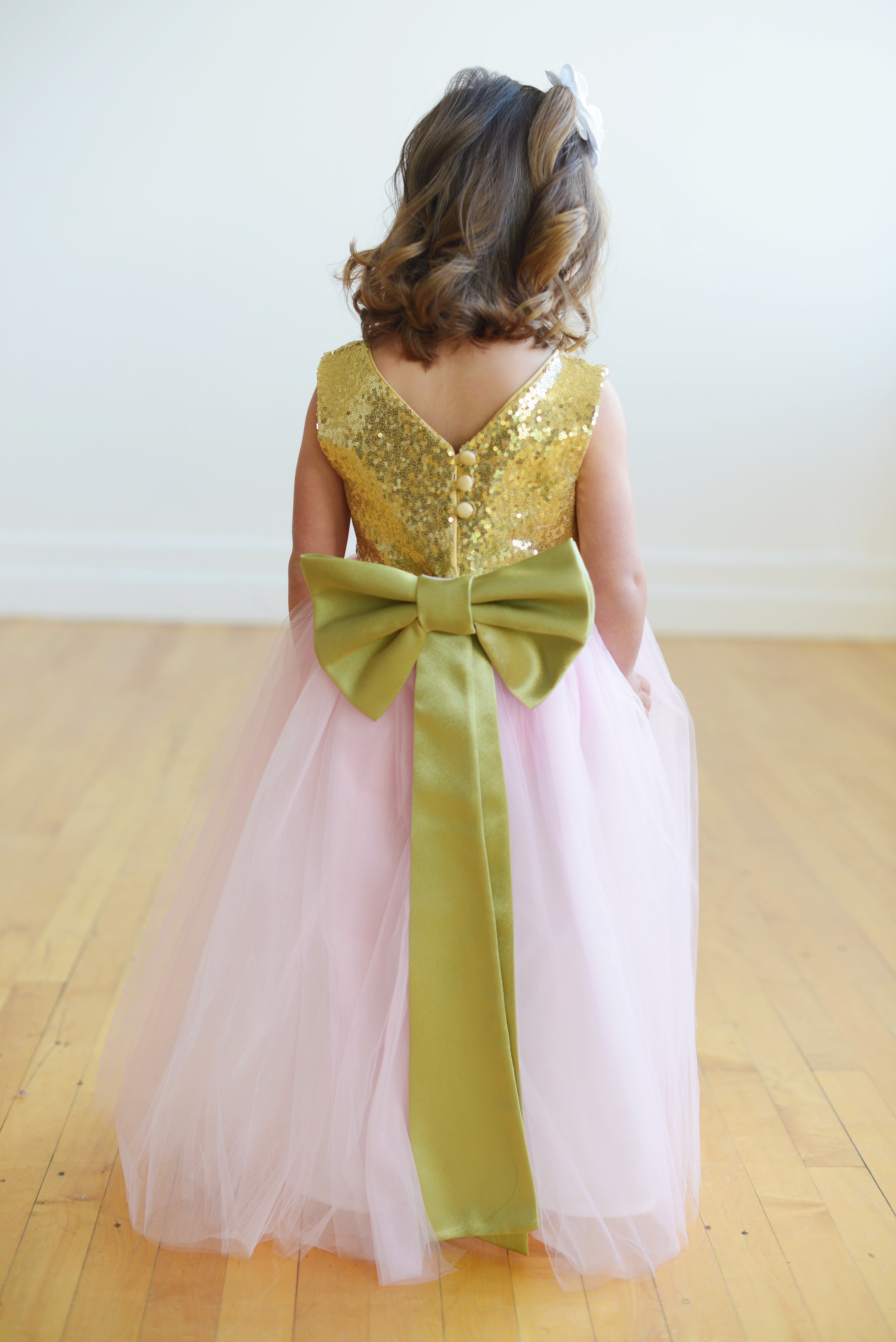Gray And Yellow Flower Girl Dresses