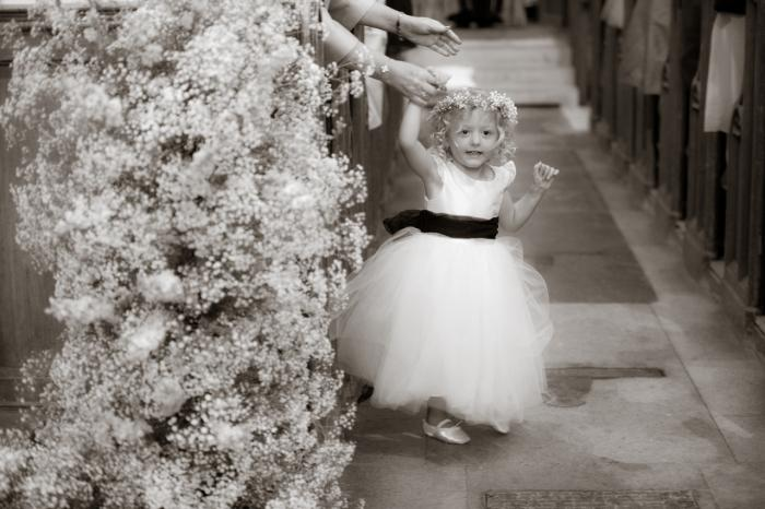ivory flowergirl dresses with sleeves and tulle skirt and navy sash
