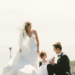 Photo of a Bride, Groom and Gilly Gray Flower Girl