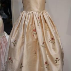 Silk champagne pink flower girl dress