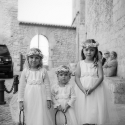 Three Gorgeous Gilly Gray in Flower Girls in Ivory Dress