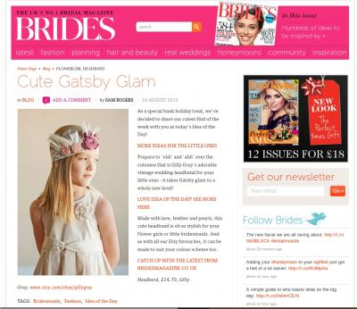 A picture of our vintage wedding headband featured in Brides Magazine