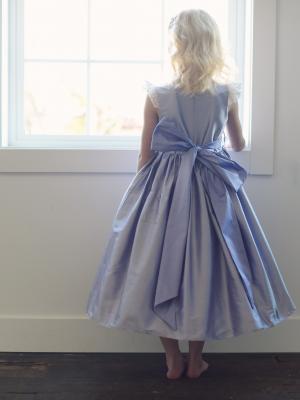 pure silk flower girl dress, purple flower girl dress, blue flowergirl dress