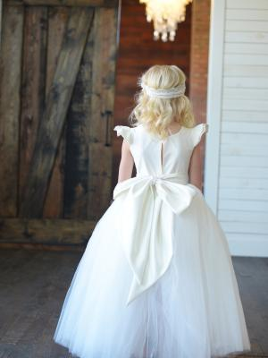 ivory flower girl dress, white flower girl dress, junior bridesmaid dress