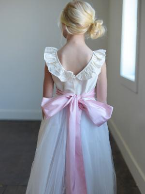 a pure silk ballerina style dress for flower girls and bridesmaids