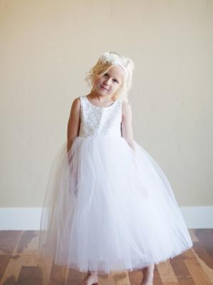 lace flower girl dress, white flower girl dress, tullle flower girl dress