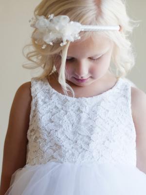 ivory flower girl dress, white flower girl dress, lace flower girl dress