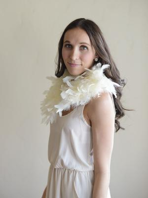 A beautulf feather wedding shawl or collar