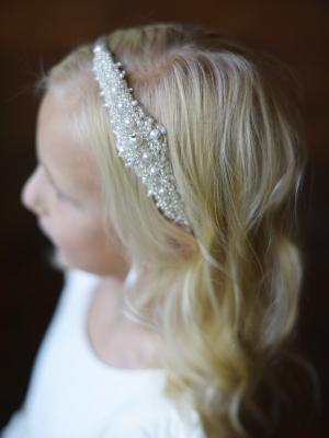 A crystal and pearl motif flower girl headband
