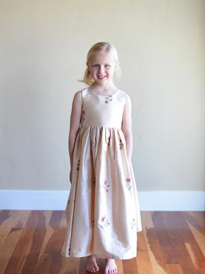 An embriodered silk flower girl dress