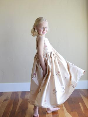 A pure silk embriodered flower girl dress