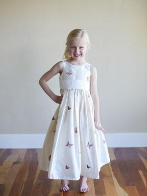 Flower girl dress with embriodered butterflies on white silk