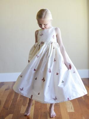 Flower Girl Dress made with pure white silk with embriodered butterfly detail