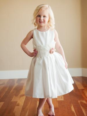 Flower girl dress, ivory silk flower girl dress, toddler bridesmaid dress, ivory