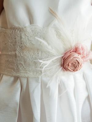 lace flower girl dress, ivory lace flower girl dress UK, dusky pink girls dress