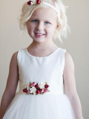 White or Ivory Flower girl dress with Flower detail