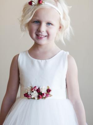 White or Ivory Flower girl dress with Flower detail