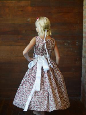 strawberry print flower girl dress uk, cotton floral girls dresses UK