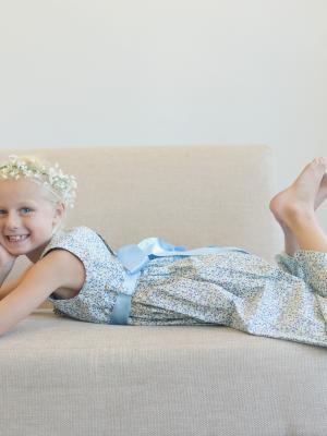 Vintage style flower girl dress, unusual flower girl dresses, blue girls dress