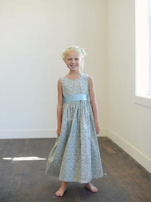 blue floral flower girl dress, floral girl's dresses, floral flower girl dresses