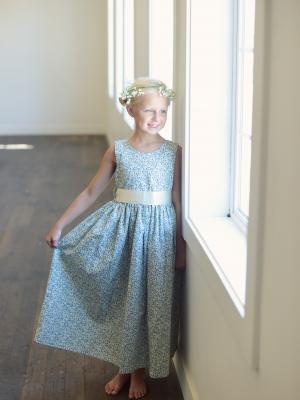 vintage style flower girl dresses, blue floral flower girl dresses
