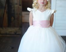 ivory flower girl dress, pink flower girl dress, pink girl's dress