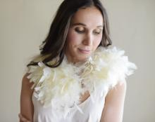 A beautiful feather wedding shawl