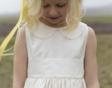 a silk flower girl dress with peter pan collar in ivory or white