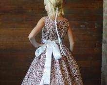 strawberry print flower girl dress uk, cotton floral girls dresses UK