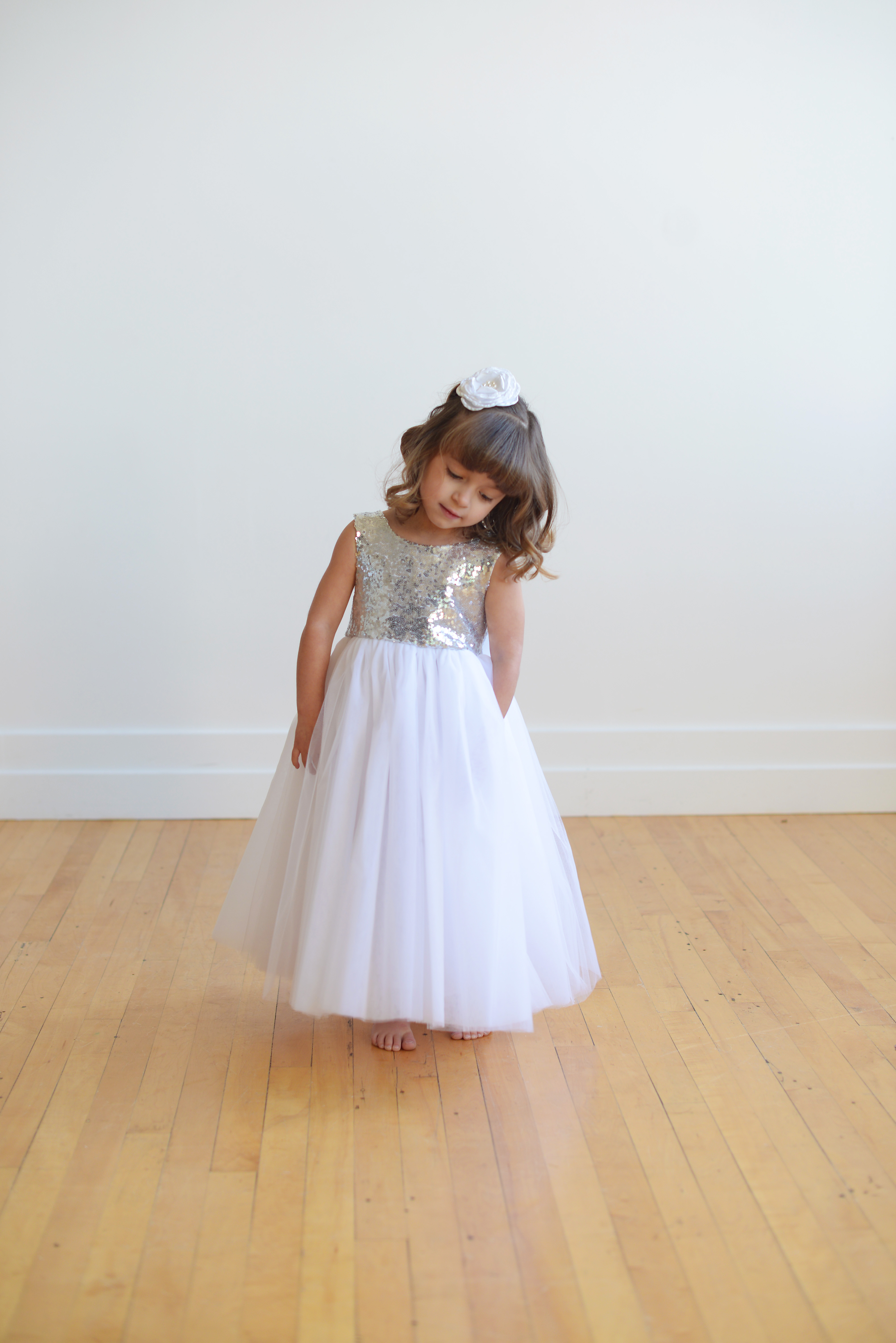Sequin Flower Girl Dress With V Back And Big Bow Made To Measure