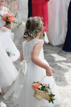 A toddler flower girl wearing an ivory flower girl dress. The flower girl dress has lace flutter sleeves and a big bow atthe back. The flower girl is carring a basket of peach, pink and sherbet lemon leaves to match her flower girl dress.