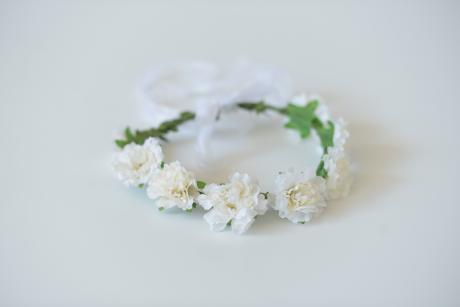 A white rose hair crown used for flower girls hair accessory and first communion hair accessory