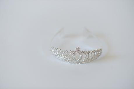 A photo of a delicate diamanté hairband for flower girls hair