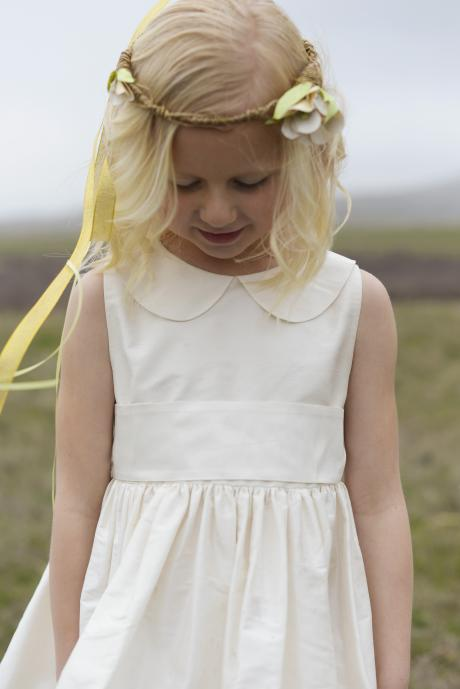 peter pan collar pure silk flower girl dress, first communion dress or junior bridesmaid dress with wide silk belt and petticoat in ivory or white