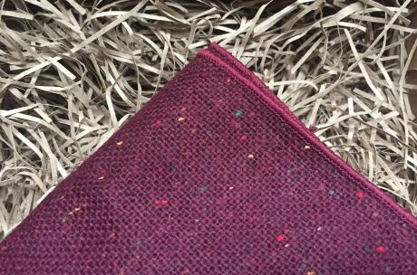 Mens pocket square in burgundy maroon flecked wool prefect for wedding ties and mens gifts
