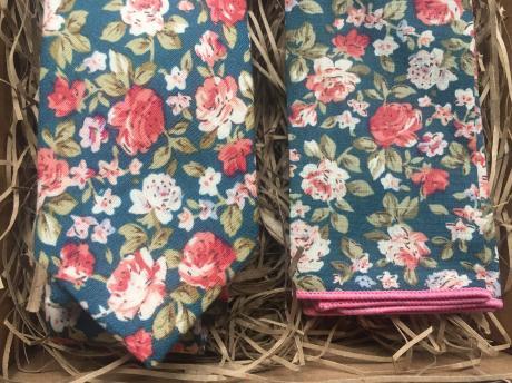 Teal, floral men's necktie and pocket square, green floral mens ties and pocket square sets