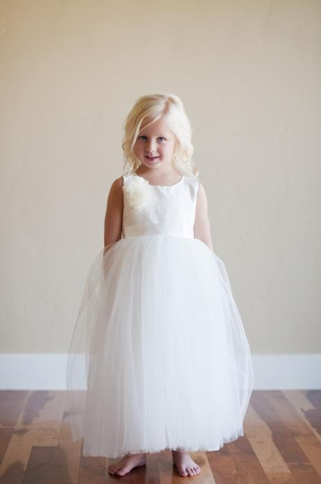 an ivory or white peony dress for flower girls with a silk bodice