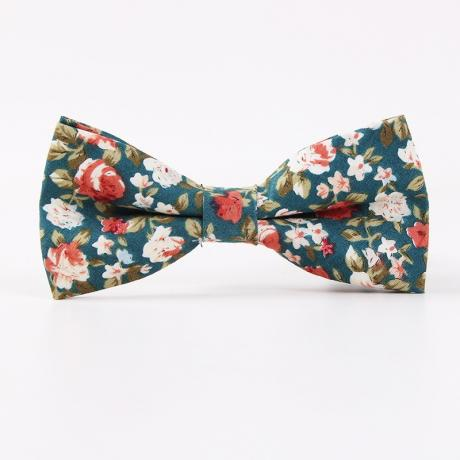 Blue cotton floral bow tie with small pink flowers and a cream background for pageboys and grooms.