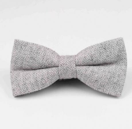 grey herringbone pre-tied bow tie for boys, adults, pageboys, groomsmen and grooms.