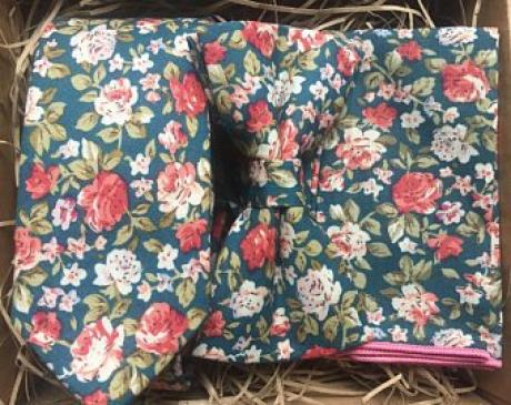 teal floral bow tie, tie and pocket square set for weddings and groomsmen gifts